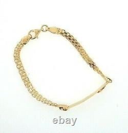 14K Yellow Gold 6 mm ID Chain Bracelet Rose Diamond Cut Engravable 6 4 grams