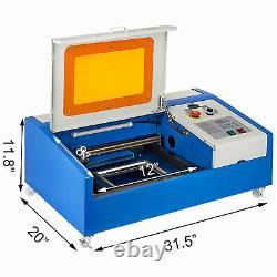 40W CO2 Laser Engraver Cutter Engraving Cutting Machine USB 300x200mm LCD Wheels