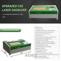 40W CO2 Laser Engraver Cutter Engraving Machine Cutting 300x200mm + 4 Wheels