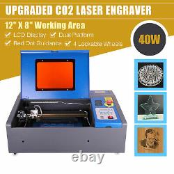 40W CO2 Laser Engraver Engraving Red Pointer Wheel LCD Cutting Carving Machine