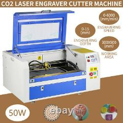 50W CO2 Laser Engraving Cutting Machine 300mmx500mm Engraver Cutter 220V USB New
