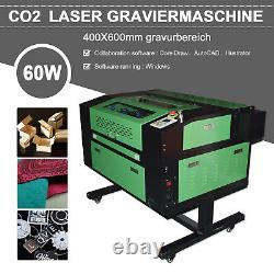 60W CO2 USB Laser Engraving Cutting Machine Engraver Cutter 400x600mm + 4 Wheels