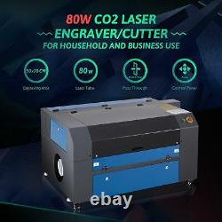 700500mm 80W CO2 Laser Engraver Cutting Machine with Rotary Axis, Power Supply