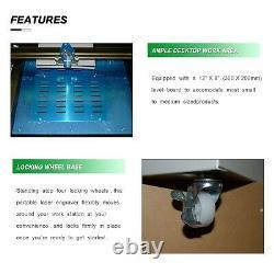 New CO2 USB 40W Laser Engraving Machine Laser Cutting Cutter Engraver + 4 Wheels