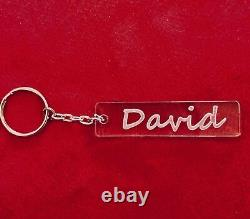 Personalised Laser Cut And Engraved Keyring Keychain Any Name Rectangle Shape