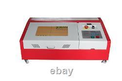 40w Co2 Graveur Laser Cutter Gravure Machine Usb 300x200mm + 4 Roues