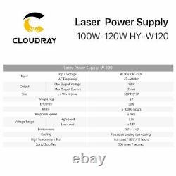 Alimentation Laser 100-120w Co2 Pour Machine De Découpe De Gravure Laser Co2 Hy-w120