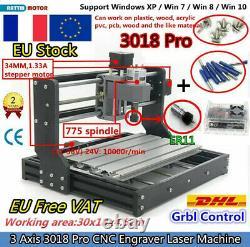 Frdiy 3018 Pro Cnc Router Kit Fraisage Pcb Coupe Gravure Laser Machine